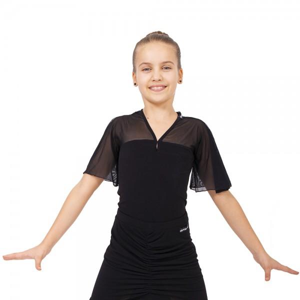 Dievčenský top s volánikovým krátkym rukávom
