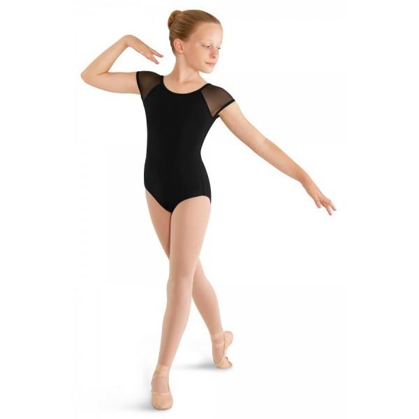 Mirella M411C Soft mesh cap sleeve leotard, detský baletný dres