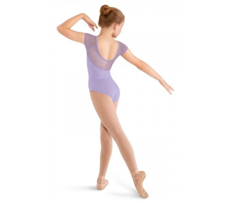 Mirella M414C, 3 Bow back cap sleeve leotard, detský baletný dres - Orgovánová lilac