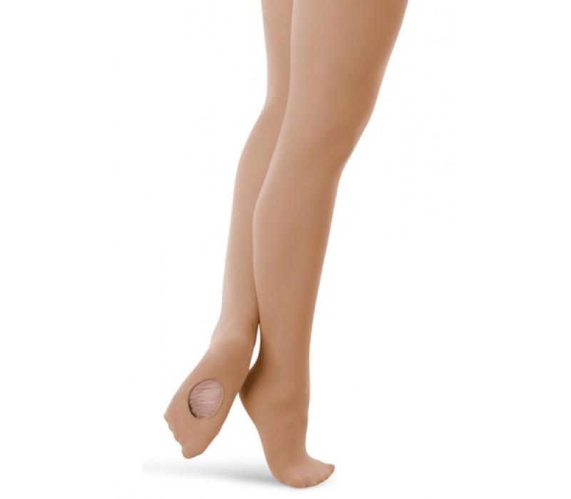 Capezio ultra soft transition tights, konvertibilné pančucháče pre deti - Hnedá chesnut Capezio