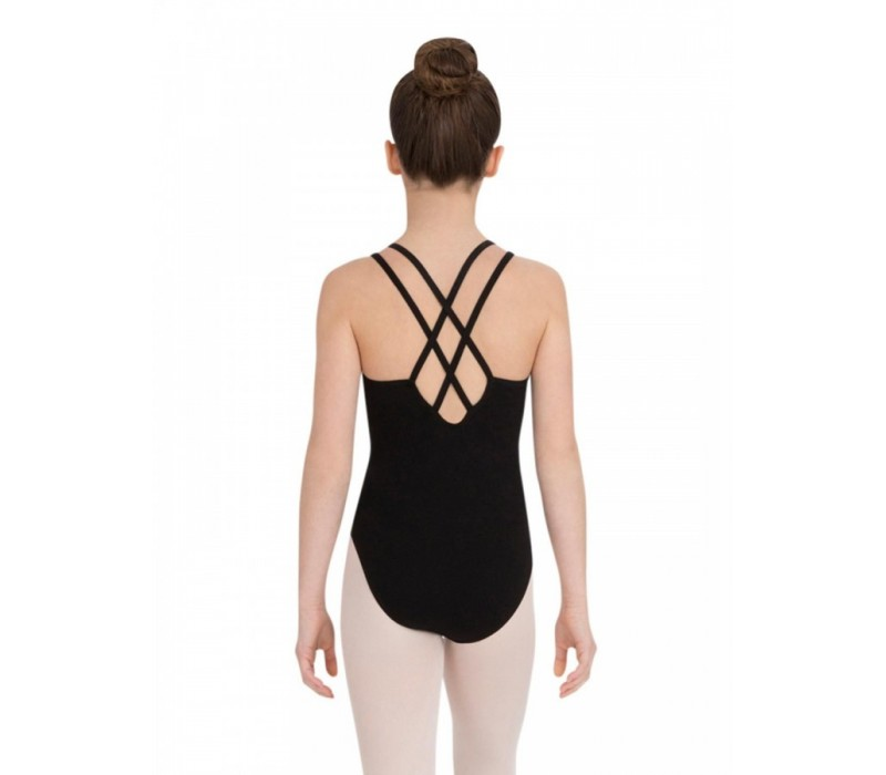 Capezio Double strap camisole leotard, detský baletný dres - Čierna
